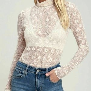 NWT FREE PEOPLE SWEET MEMORIES LACE SHEER TOP